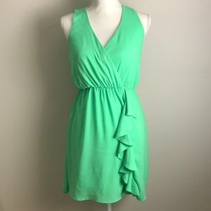 Pink Owl - Lime Green Stretchy Ruffle Dress